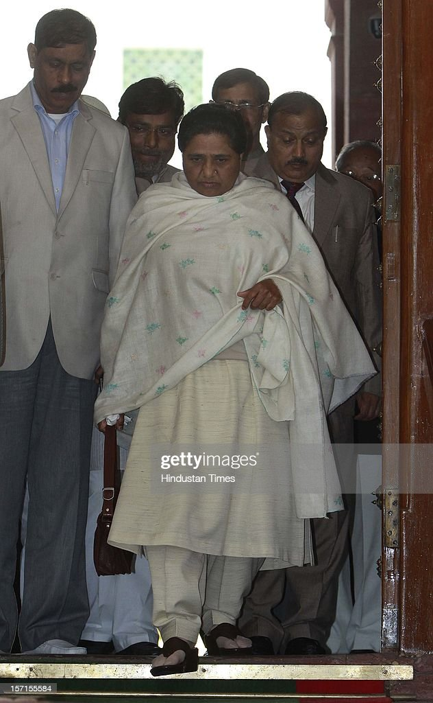 BSP chief Mayawati leaves Parliament house after attending Parliament Winter Session on November 29, 2012 in New Delhi, India. The logjam in Parliament finally ended after government agreed to the voting on FDI issue. The voting after debate will be held next week on December 4 and 5.