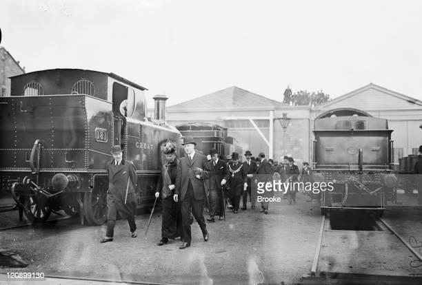 Chief Mechanical Engineer CC Collett shows Queen Mary around the engine yard at the GWR works at Swindon Wiltshire 1st May 1924