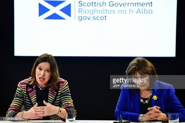 Chief Medical Officer Dr Catherine Calderwood and Health Secretary Jeane Freeman give a press conference on the COVID19 situation following a COBRA...