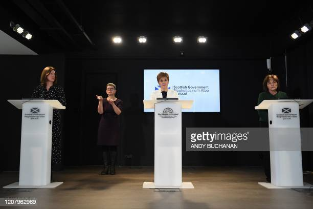 Chief Medical Officer Dr Catherine Calderwood Scotland's First Minister Nicola Sturgeon and Scotland's Health Secretary Jeane Freeman hold a briefing...