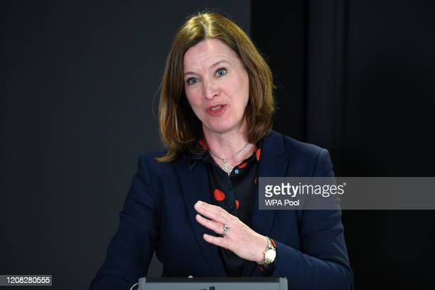 Chief Medical Officer for Scotland Catherine Calderwood gestures as she holds a briefing on the novel coronavirus COVID19 outbreak in Edinburgh on...