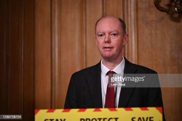 Chief Medical Officer Professor Chris Whitty speaks during a coronavirus press conference at 10 Downing Street on January 22, 2021 in London,...