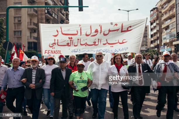 Chief members of FENASOL the Federation of Worker and Employee Trade Unions are seen taking part during the labour day protest May is International...
