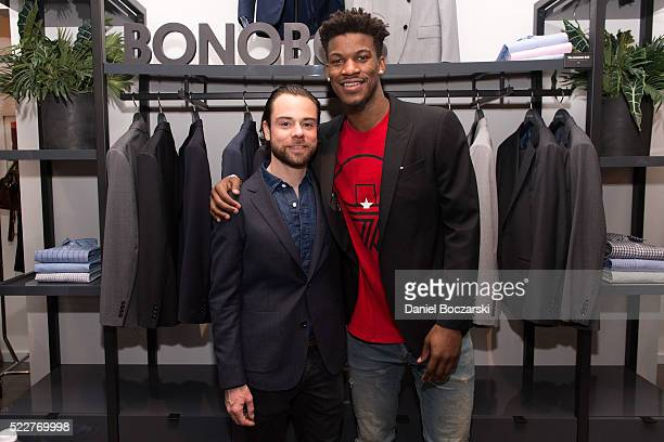 Chief Merchandising Officer at Bonobos Brad Andrews and Jimmy Butler attend Bonobos Michigan Avenue Launch Party at Bonobos Guideshop on April 20...