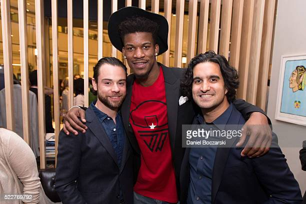 Chief Merchandising Officer at Bonobos Brad Andrews Jimmy Butler and Founder CEO Andy Dunn attend Bonobos Michigan Avenue Launch Party at Bonobos...