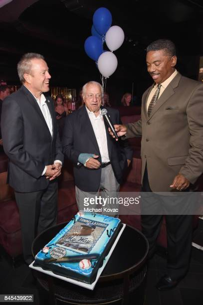 Chief Michel Moore, baseball Hall of Famer Tommy Lasorda and retired Major League Baseball player Dennis Powel at the Heroes for Heroes: Los Angeles...