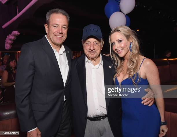 Chief Michel Moore baseball Hall of Famer Tommy Lasorda and Traci Szymanski at the Heroes for Heroes: Los Angeles Police Memorial Foundation...