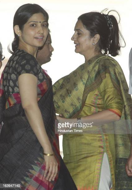 Chief Minister Akhilesh Yadav's wife MP Dimple Yadav with congress leader Kiran Choudhary after attending the ongoing parliament budget session on...