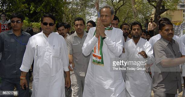 Chief Minister Ashok Gehlot during election campaign for Lok Sabha with youth congress workers in Jaipur on April 23 2009 in New Delhi India India is...
