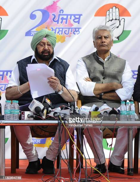 Chief Minister Capt Amarinder Singh and Punjab Congress President Sunil Jhakar during a press conference ahead of the general elections at Congress...
