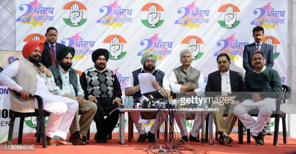 Chief Minister Capt Amarinder Singh with Punjab Congress President Sunil Jhakar and other Congress leaders during a press conference ahead of the...