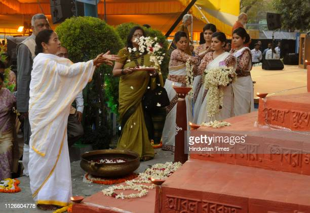 Chief Minister Mamata Banerjee pays floral tribute to the martyrs of Bhasha Shahid Memorial on the occasion of International Mother Language Day at...