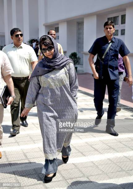 Chief Minister Mehbooba Mufti coming out after casting her vote during the member of legislative council elections at central hall of Civil...