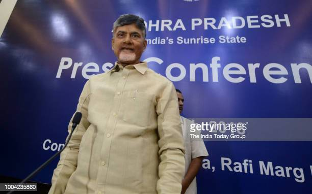 Chief Minister of Andhra Pradesh N Chandrababu Naidu addresses a Press Conference in New Delhi