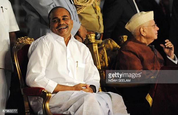 Chief Minister of Andhra Pradesh YSRajaSekhar Reddy smiles during the swearingin ceremony of cabinet ministers at Raj Bhavan in Hyderabad on May 25...
