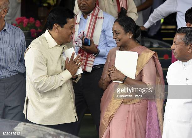 Chief Minister of Assam Sarbananda Sonowal along with Meira Kumar after swearing in ceremony of the new president Ram Nath Kovind at Parliament House...