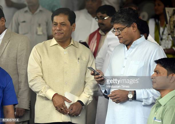 Chief Minister of Assam Sarbananda Sonowal along with MP Baijayant Panda after the Newly president Ramnath Kovind Oath ceremony at Parliament House...
