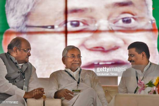 Chief Minister of Bihar Nitish Kumar and General Secretary, Janta Dal KC Tyagi are seen during a training camp for JDU workers and supporters, on...