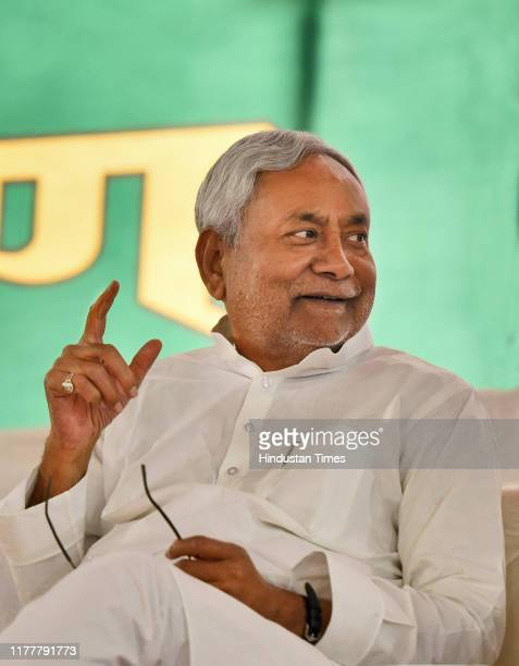 Chief Minister of Bihar, Nitish Kumar gestures as he attends a Janta Dal training camp before addressing party workers and supporters, on October 23,...