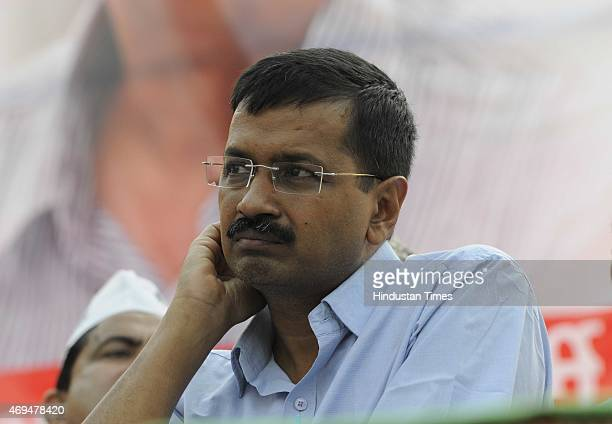 Chief Minister of Delhi Arvind Kejriwal addresses during an 'Adhikar Rally and Abhindan Samaroh' organized by Aam Aadmi Party workers at Karawal...