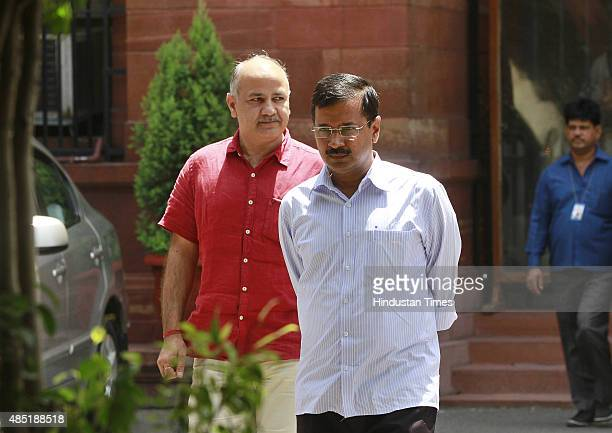 Chief Minister of Delhi Arvind Kejriwal and Deputy Chief Minister Manish Sisodia coming out after meeting with Prime Minister Narendra Modi at PM...
