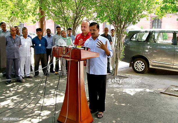 Chief Minister of Delhi Arvind Kejriwal and Deputy Chief Minister Manish Sisodia addressing media after meeting with Prime Minister Narendra Modi at...