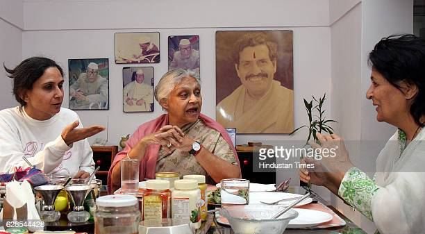 Chief Minister of Delhi Sheila Dikshit with her Daughter [ Left] and CM'S sister [ Right ] on Break Fast Table at her Residence in the Capital