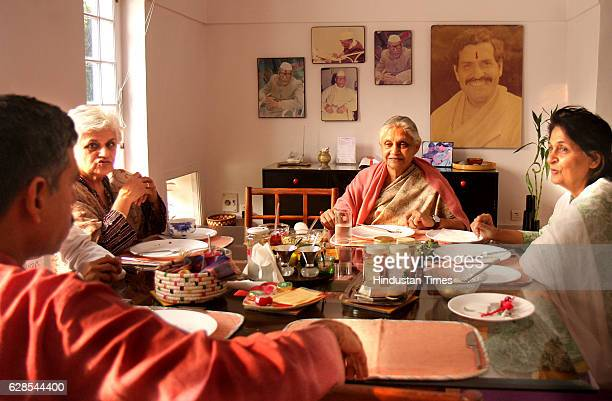 Chief Minister of Delhi Sheila Dikshit with her Sisters and Her Son at his Residence in the Capital on Saturday