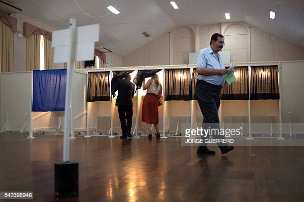 Chief Minister of Gibraltar Fabian Picardo and his wife Justine cast their ballots in the referendum on whether the United Kingdom should stay in or...