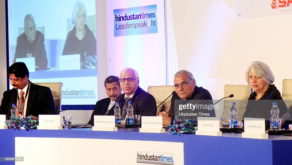 Chief minister of Haryana Bhupinder Singh Hooda (4 L) along with other panelist Naresh Trehan (2 L), Former CEC India SY Quraishi (3 L), Chairperson of Indian council for Research on International Economic Relation Isher Judge Ahluwalia (5 L), Resident Editor Ramesh Vinayak (L) during panel discussion on uncovering the Haryana growth story Gains, Gaps and Goals at Leaderspeak@ht, on February 8, 2013 in Gurgaon, India.