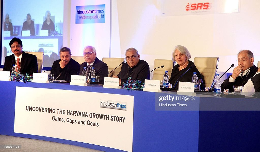 Chief minister of Haryana Bhupinder Singh Hooda (4 L) along with other panelist Naresh Trehan (2 L), Former CEC India SY Quraishi (3 L), Chairperson of Indian council for Research on International Economic Relation Isher Judge Ahluwalia (5 L), Vice Chairman DLF Ltd Rajiv Singh, Resident Editor Hindustan Times Ramesh Vinayak (L) during panel discussion on uncovering the Haryana growth story Gains, Gaps and Goals at Leaderspeak@ht, on February 8, 2013 in Gurgaon, India.