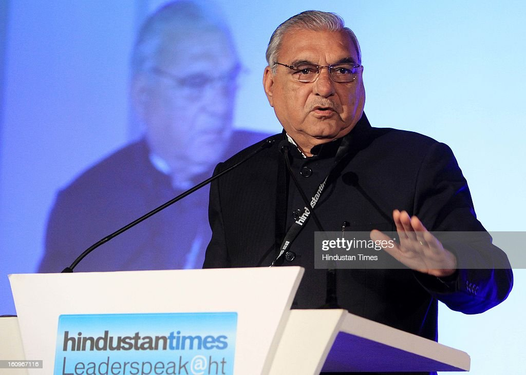 Chief Minister of Haryana Bhupinder Singh Hooda speaking during panel discussion on uncovering the Haryana growth story Gains, Gaps and Goals at Leaderspeak@ht, on February 8, 2013 in Gurgaon, India.