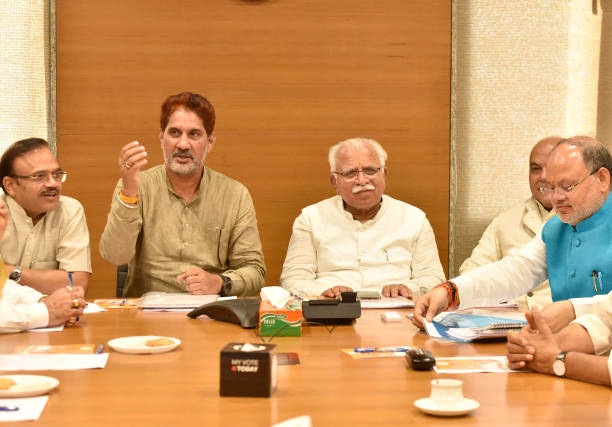 IND: Haryana Chief Minister Manohar Lal Khattar Chairs State Assembly Election Core Committee Meeting