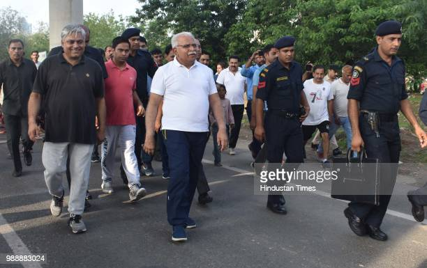 Chief Minister of Haryana Manohar Lal Khattar during a Raahgiri Day an event organised by MCG at Sector 55 Golf Course Road in Gurugram India on...
