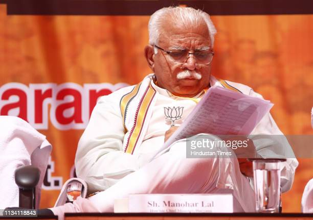 Chief Minister of Haryana Manohar Lal Khattar during the state level social media volunteers meet ahead of the Lok Sabha elections at Casabella...