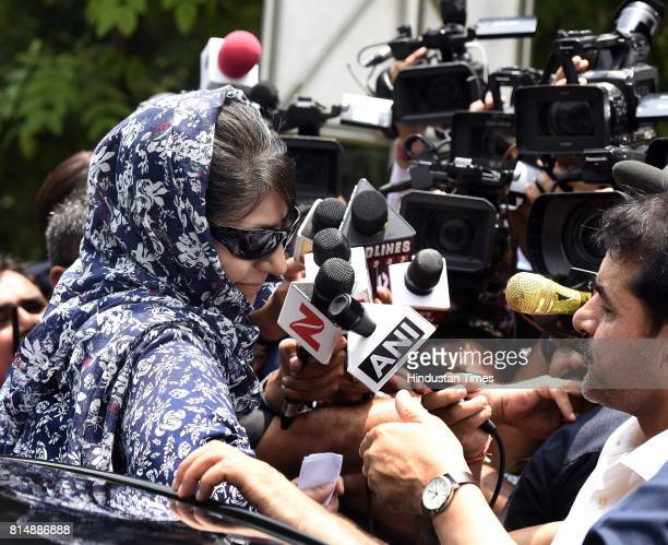 Chief Minister of Jammu and Kashmir Mehbooba Mufti Sayeed addresses media persons after meeting with Union Home Minister Rajnath Singh on the issue...