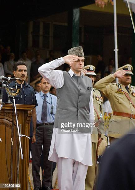 Chief Minister of Jammu and Kashmir Omar Abdullah salutes during India's Independence Day celebrations on August 15 2012 in Srinagar the summer...