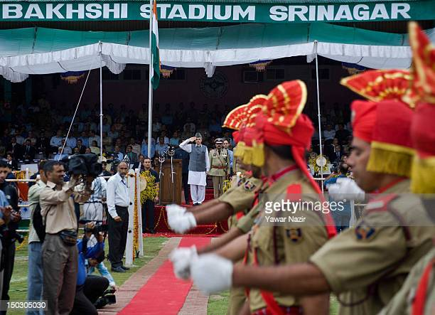 Chief Minister of Jammu and Kashmir Omar Abdullah takes salute during India's Independence Day celebrations on August 15 2012 in Srinagar the summer...