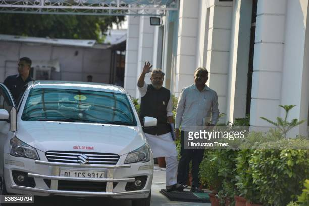 Chief Minister of Jharkhand Raghubar Das and Deputy Chief Minister Sushil Kumar Modi during a meeting of PM Narendra Modi with BJP Chief Ministers at...