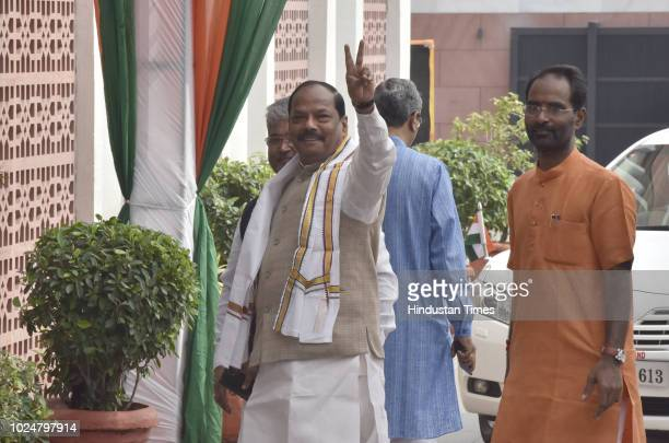 Chief Minister of Jharkhand Raghubar Das arrives for the BJP Chief Ministers' Council Meeting at BJP headquarters on August 28 2018 in New Delhi...