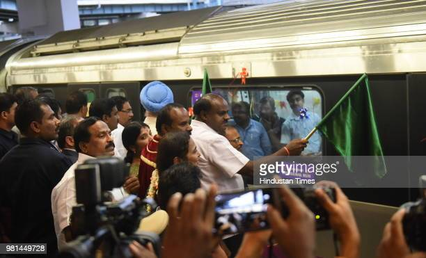 Chief Minister of Karnataka H D Kumarswamy flagging off the first six coach metro train in the city in presence of Hardeep Singh Union Minister of...