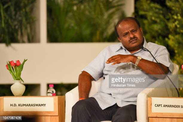 Chief Minister of Karnataka HD Kumaraswamy during a second day of Hindustan Times Leadership Summit 2018 at Taj Palace on October 6 2018 in New Delhi...