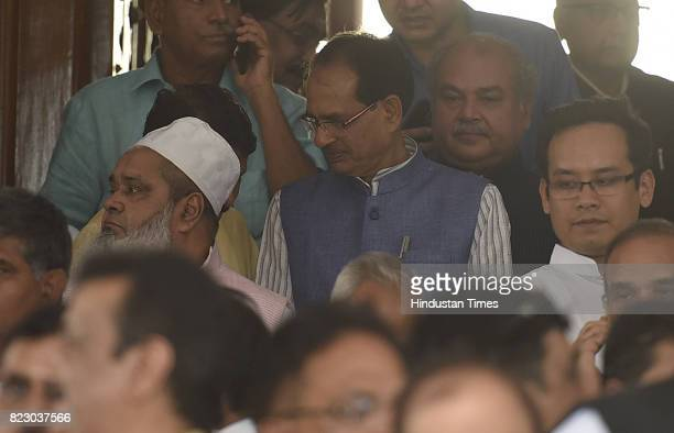 Chief Minister of Madhya Pradesh Shivraj Singh Chouhan after the Newly president Ramnath Kovind Oath ceremony at Parliament House on July 25 2017 in...