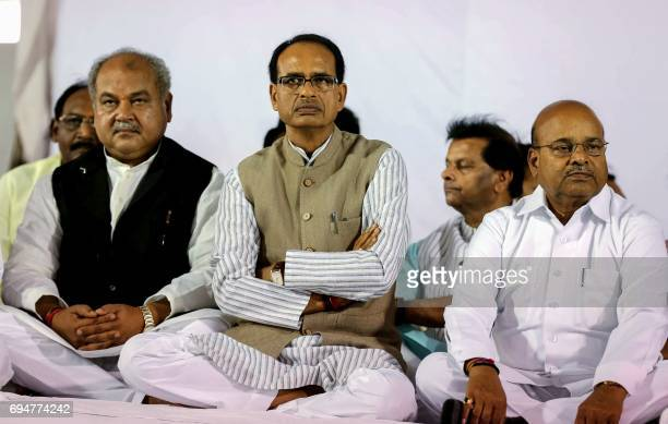 Chief minister of Madhya Pradesh Shivraj Singh Chouhan attends an event after meeting with farmers in Bhopal on June 11 following a tense week of...
