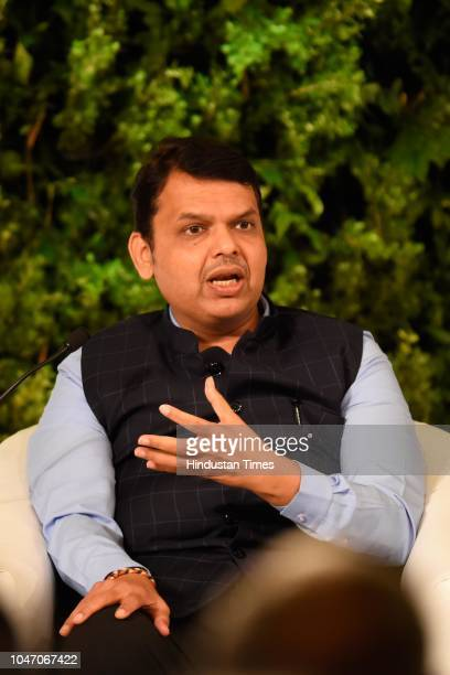 Chief Minister of Maharashtra Devendra Fadnavis during a second day of Hindustan Times Leadership Summit 2018 at Taj Palace on October 6 2018 in New...