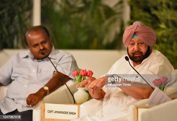 Chief Minister of Punjab Capt Amarinder Singh and Chief Minister of Karnataka HD Kumaraswamy during a second day of Hindustan Times Leadership Summit...