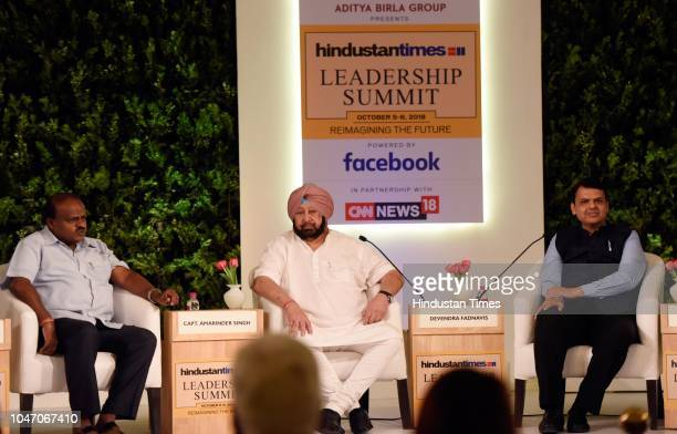 Chief Minister of Punjab Capt Amarinder Singh Chief Minister of Karnataka HD Kumaraswamy and Chief Minister of Maharashtra Devendra Fadnavis during a...