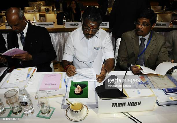 Chief Minister of Tamil Nadu O Panneerselvam during a PreBudget meeting of State Finance Ministers with Union Finance Minister Arun Jaitley at Hotel...