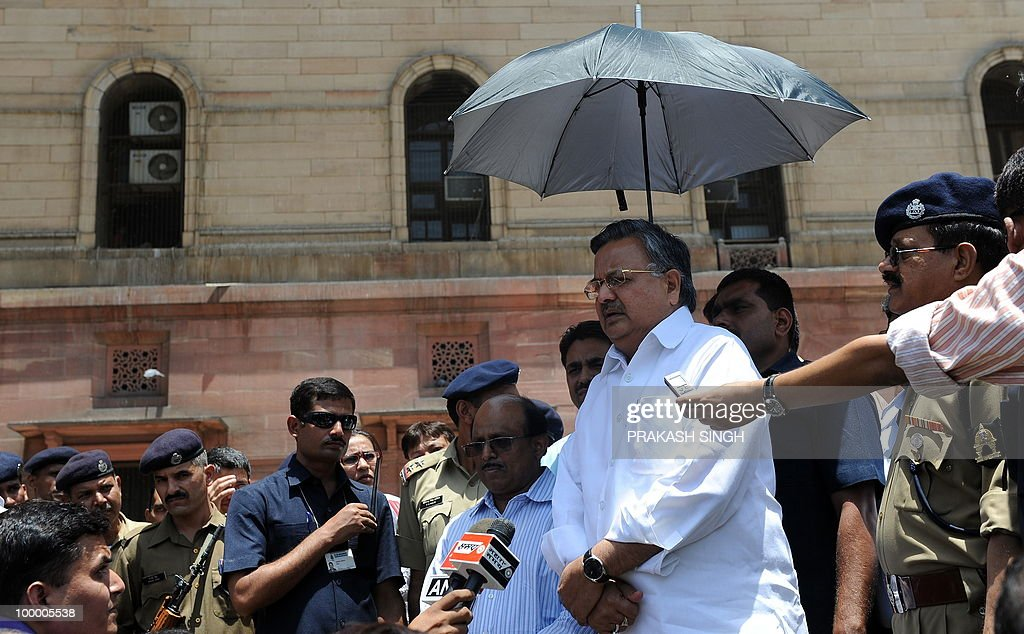 Chief Minister of the Indian state of Chhattisgarh Raman Singh addresses media representatives after a meeting with Union Home MInister P. Chidambaram outside The Home Ministry in New Delhi on May 20, 2010. Terming Naxals as the biggest terrorists, Chhattisgarh Chief Minister Raman Singh said that there cannot be a 'soft line' to deal with Maoists but disfavoured use of air power to combat the menace. Attributing the recent spur in the Naxal violence to frontal operations by the security forces in the state, Singh favoured a long-term action joint action plan with the Centre to tackle the problem. AFP PHOTO/Prakash SINGH