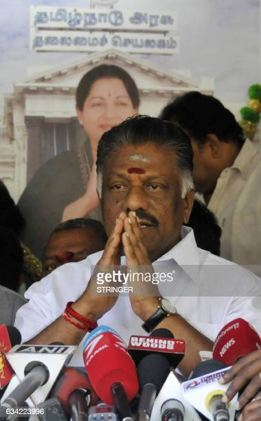 Chief Minister of the southern Indian state of Tamil Nadu OPaneerselvam gestures during a press conference at his home in Chennai on February 82017 A...